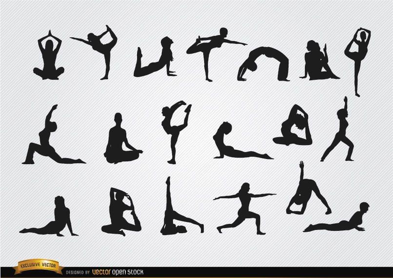 Frauen, die Yoga-Silhouetten tun