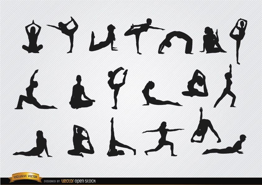 Mujeres hacer yoga siluetas