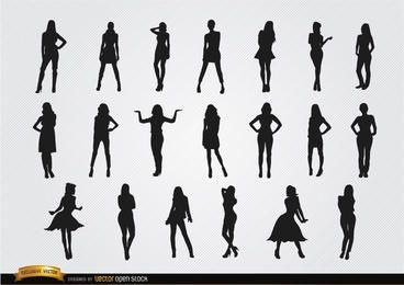Mulheres, posar, silhuetas