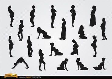 Silhouetten der schwangeren Frau