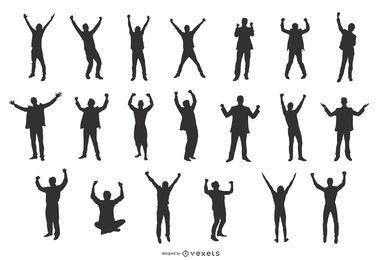 Homens, celebrando, sucesso, silhuetas