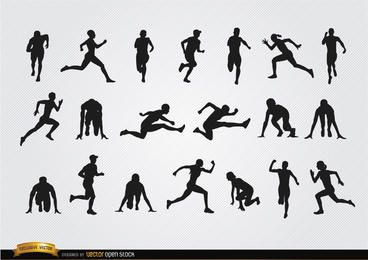 Athleten-Silhouetten eingestellt