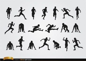 Conjunto de silhuetas de atletas