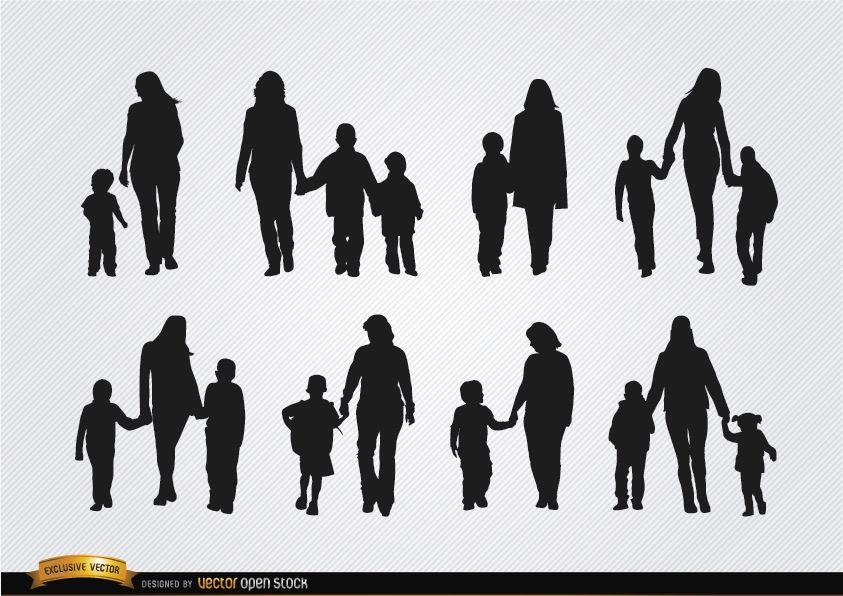 Silhuetas de mães caminhando com filhos