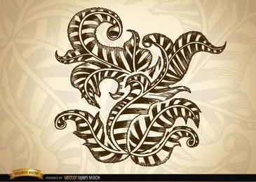 Dibujo de remolinos y hojas ornamentales.