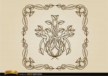 Marco en espiral de la decoración de los tallos
