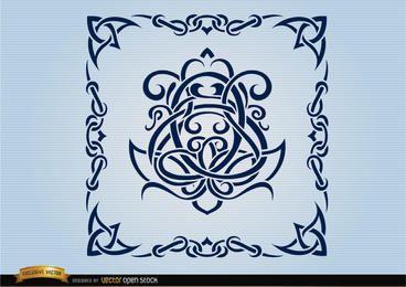 Celeste remolinos con marco ornamental.