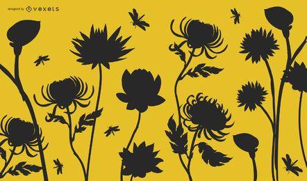 Plantas de jardín de silueta con libélulas