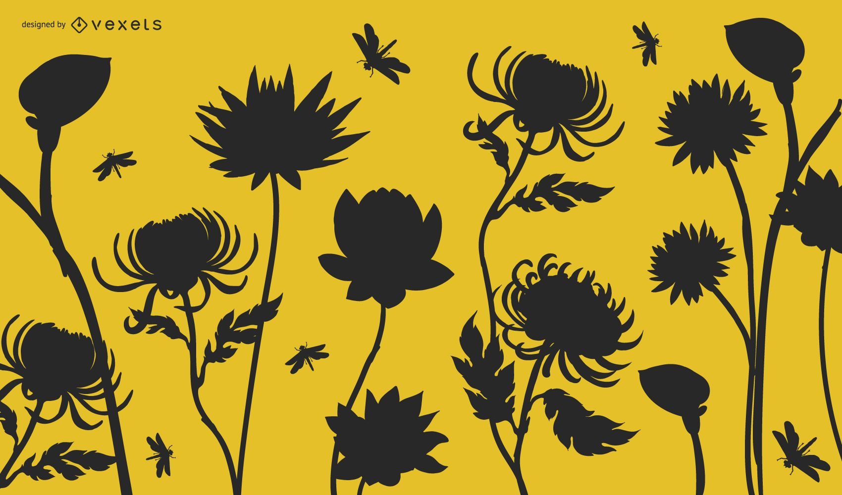 Silhouette Garden Plants with Dragonflies