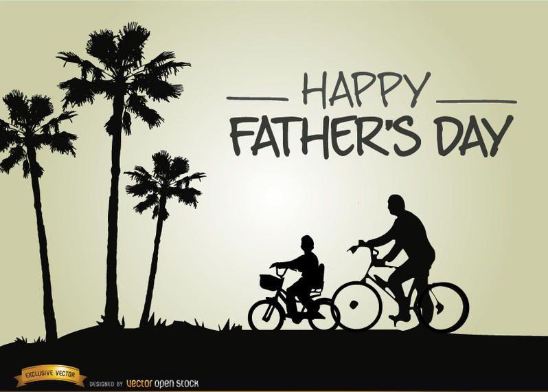 Dia dos pais andando de bicicleta com o filho
