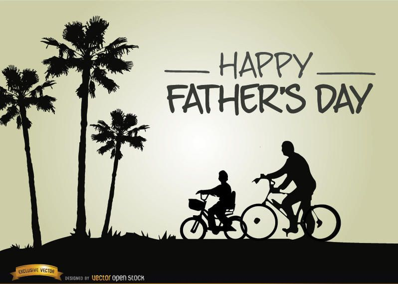 Vatertag Reiten Fahrrad mit Sohn