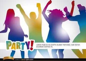 Gente bailando en promoción de fiesta.