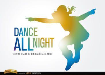 Silueta coloreada saltar bailar