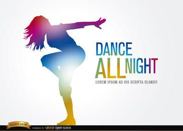 Colorido, dançar, menina, figura