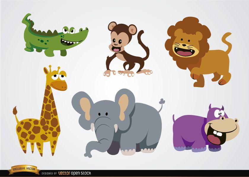 Animais selvagens de desenhos animados engraçados