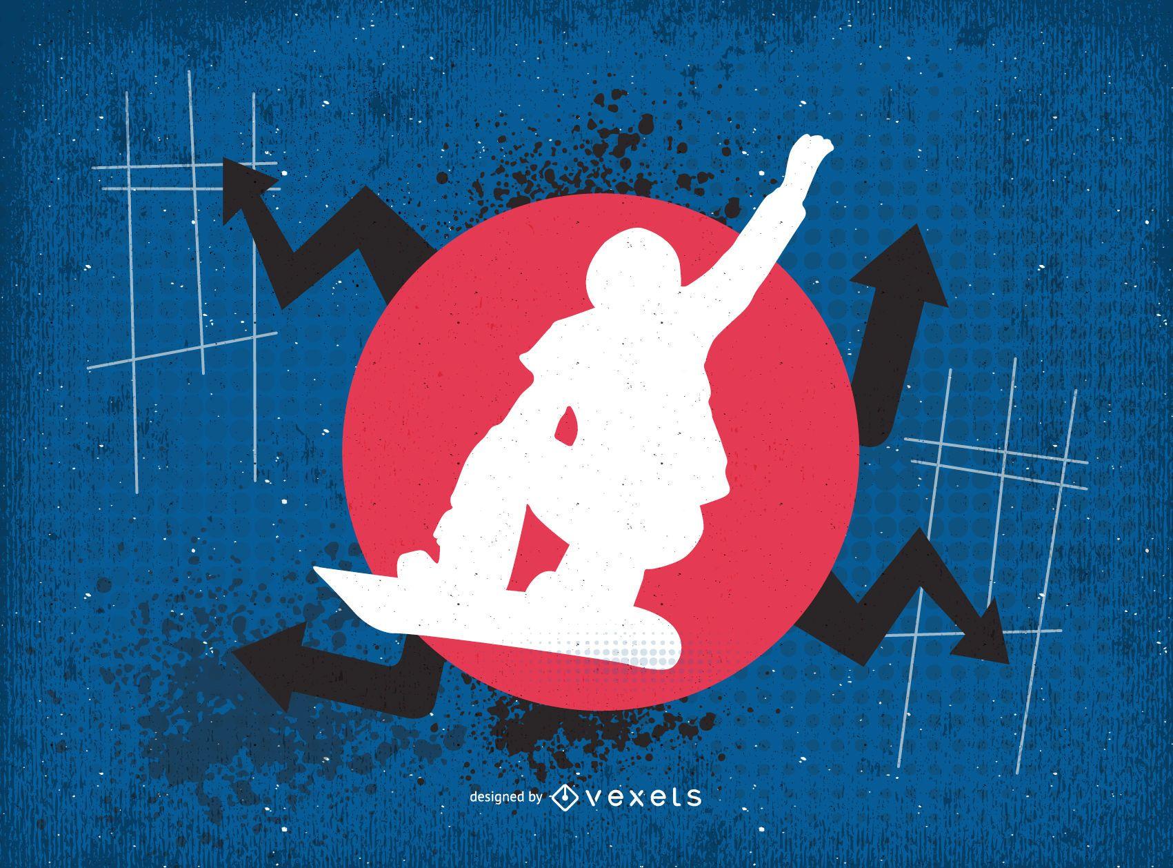 Vector de goteo de snowboarder urbano