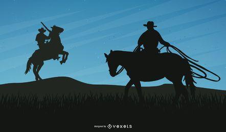 Siluetas de vaquero con caballos
