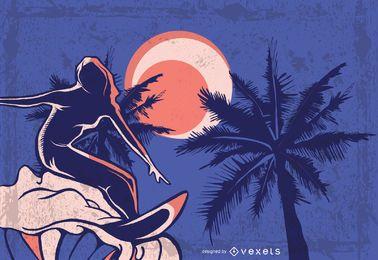 Fundo de surfista sujo com temática de verão