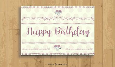 Cartão de aniversário do vintage do às bolinhas