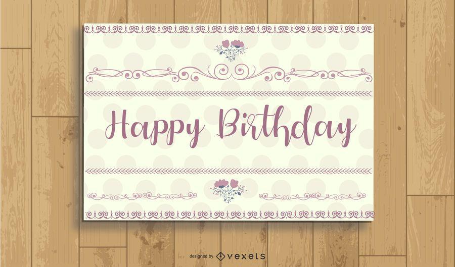 Polka Dot Vintage Birthday Card