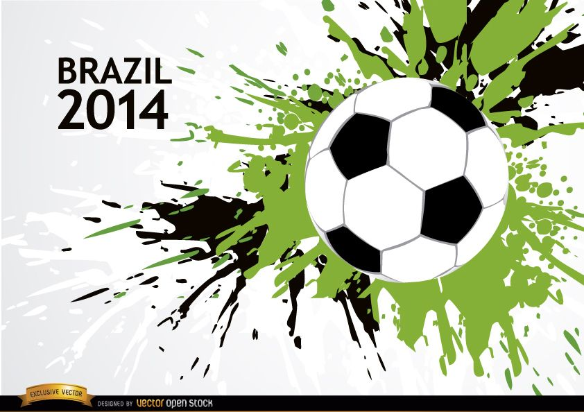 Sports Ball Vector Background Art Free Download: Grunge Soccer Brazil 2014