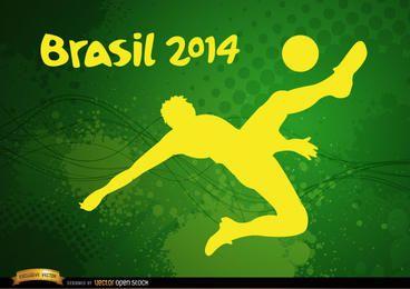 Jogador chutando futebol Brasil 2014
