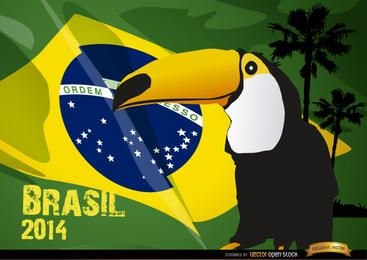 Toucan und Brasilien Flagge 2014