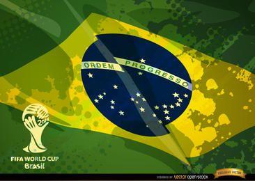 Logo de la copa de fútbol de la bandera de Brasil grunge