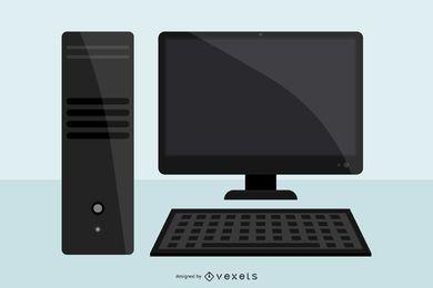 Computadora de escritorio negra