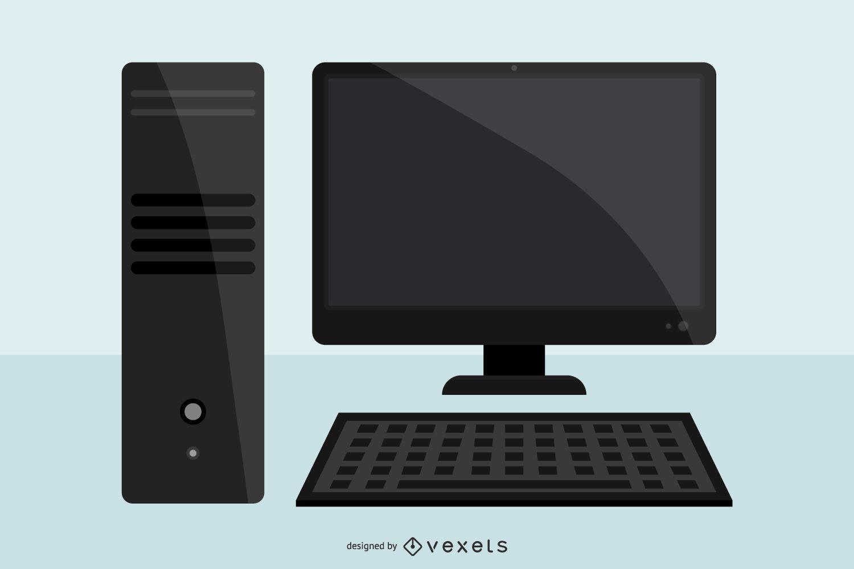 Black desktop computer