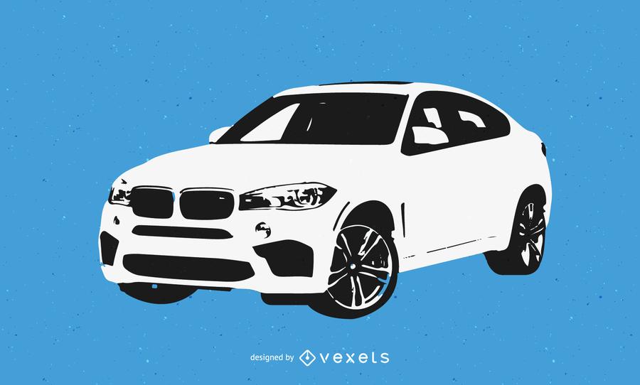 BMW Black and White Car