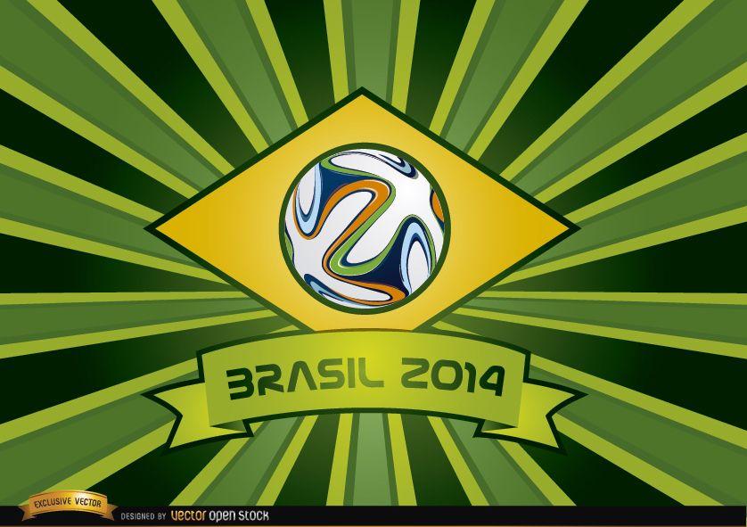 Brasil 2014 ribbon and beams background