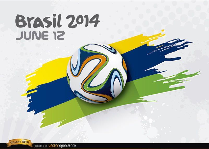 Futebol rolando sobre as cores do Brasil 2014