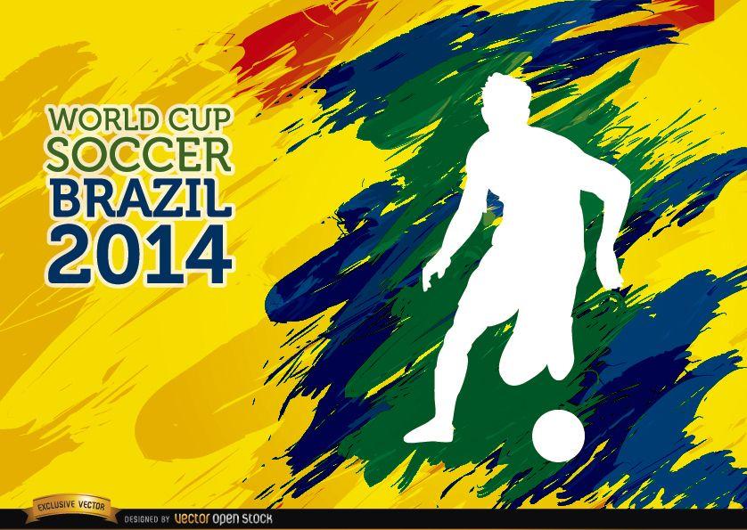 Pinceladas de la Copa Mundial de Fútbol Brasil jugador