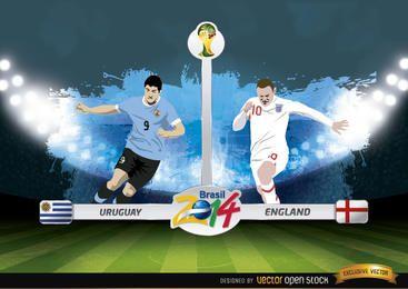Partido de WorldCup Uruguay vs Inglaterra Brasil 2014