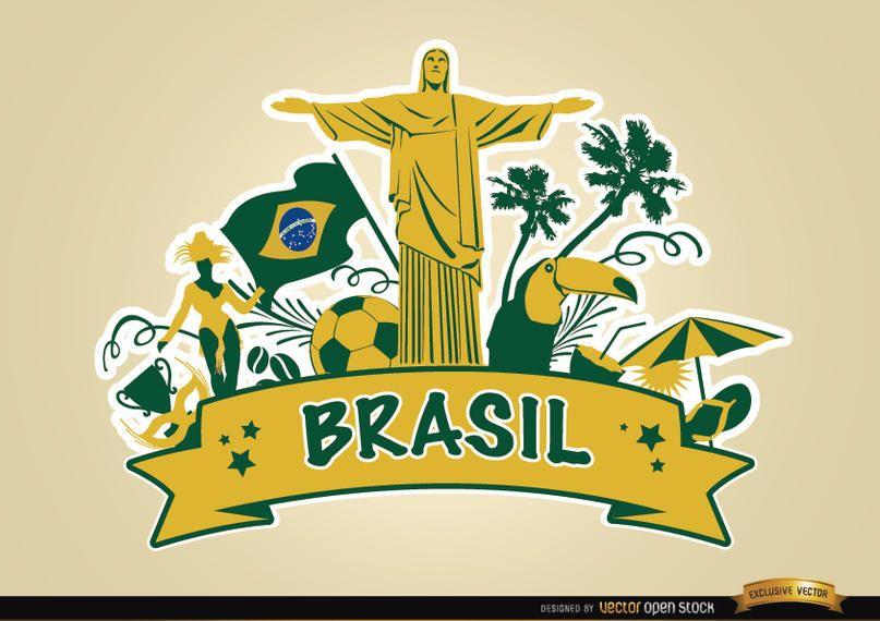 Fita do Brasil com as principais atrações turísticas