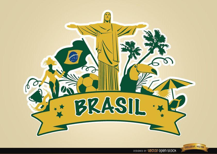 Cinta de Brasil con los principales atractivos turísticos