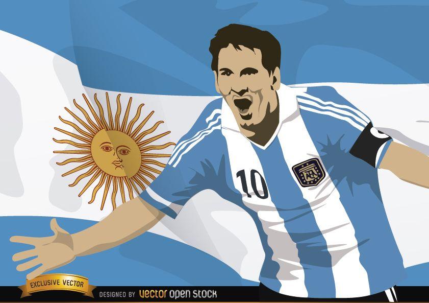 Jugador de fútbol Messi con bandera Argentina
