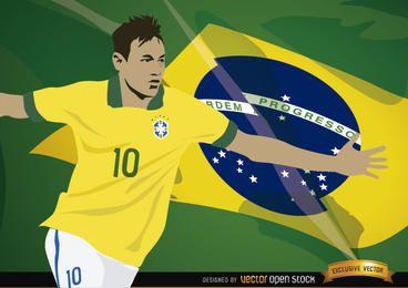 Jugador de fútbol Neymar con la bandera de Brasil