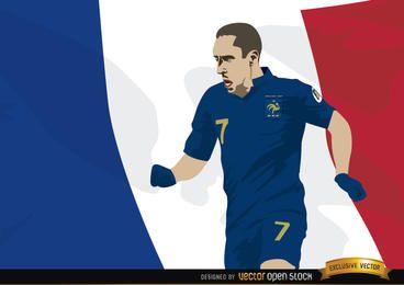 Francia jugador Franck Ribery con la bandera