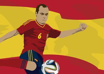 Spanien-Spieler Andres Iniesta mit Flagge