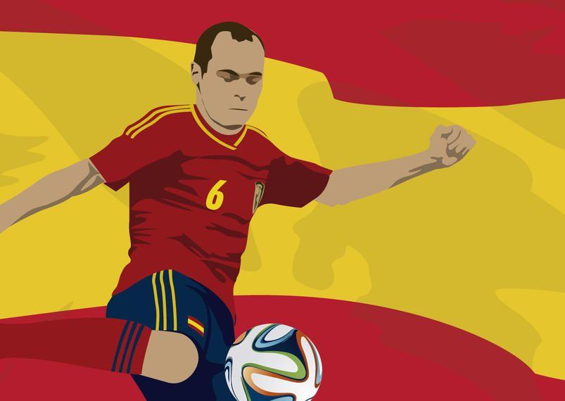 El jugador de españa Andrés Iniesta con bandera.