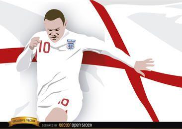 England-Fußballspieler Wayne Rooney mit Flagge
