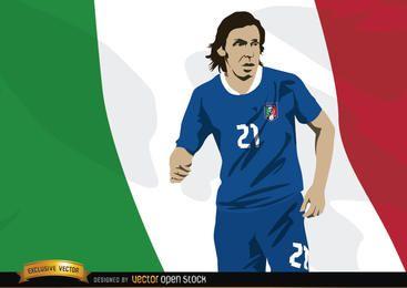 El futbolista de Italia Andrea Pirlo con bandera