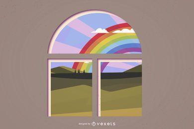 Realistischer Innenhintergrund mit Regenbogen