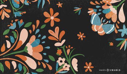 Fondo floral retro sucio con mariposa