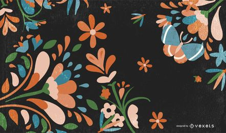 Grungy Retro Floral Background with Butterfly