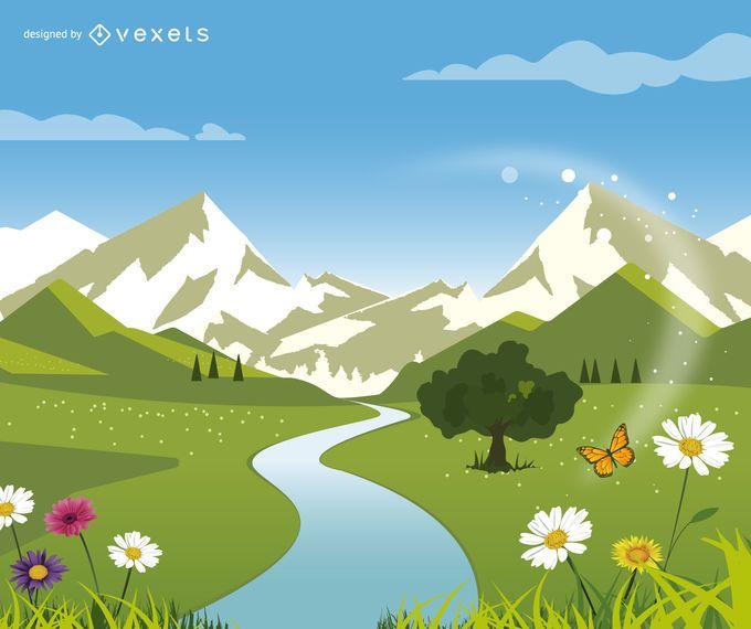 Paisagem verde da natureza com colinas e rio