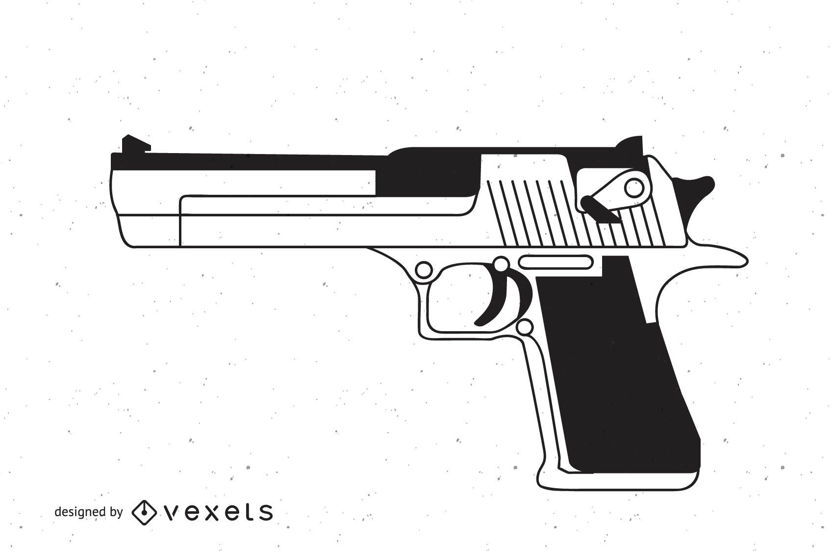 Pistola Desert Eagle en blanco y negro