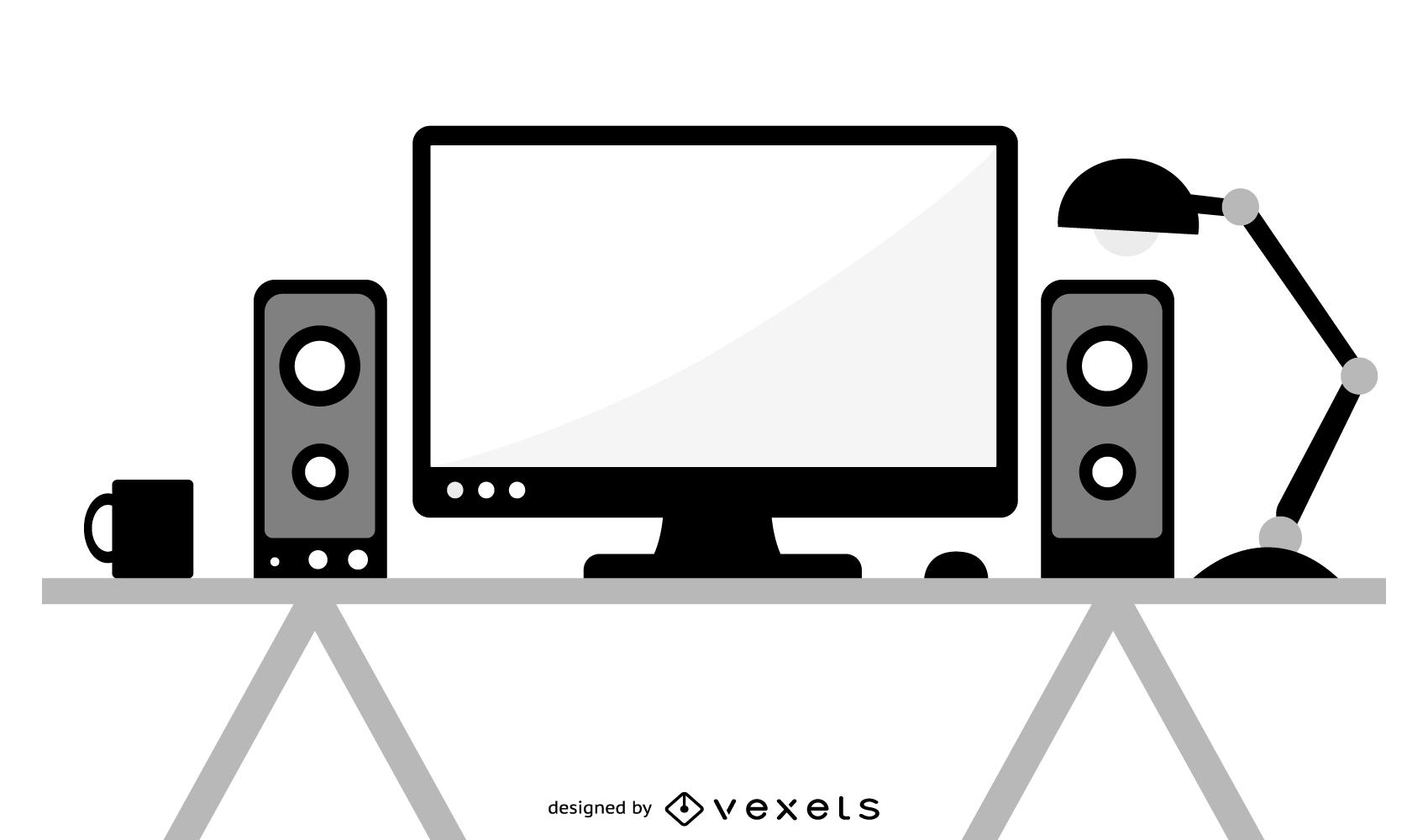 Vetor de PC desktop